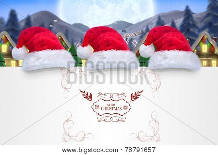 Merry christmas message against quaint town with bright moon