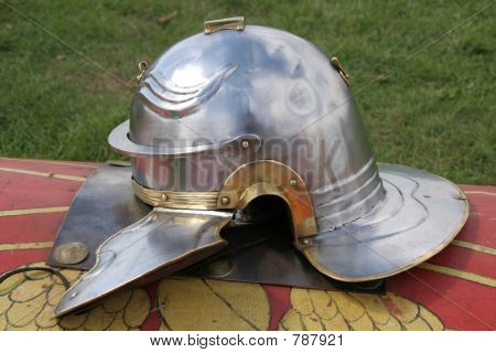 Roman helmet and shield