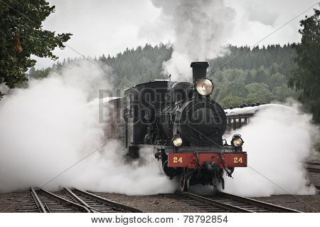 Steamtrain on departure