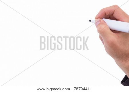 Businessmans hand writing with marker on white background