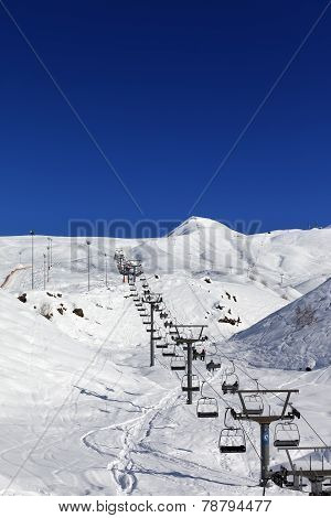 Winter Mountains And Ski Slope At Nice Day