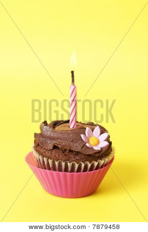 Miniature Chocolate Cupcake With Candle