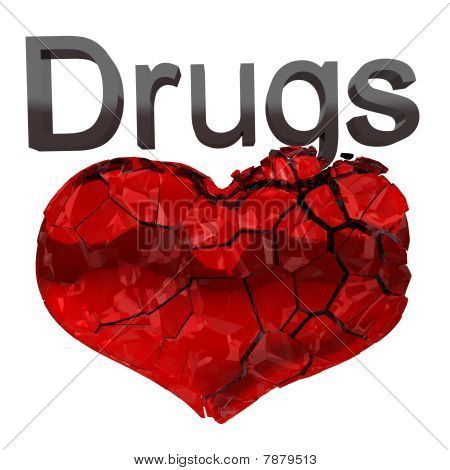 Narcotics And Drugs Are Killing. Crashing Heart Isolated