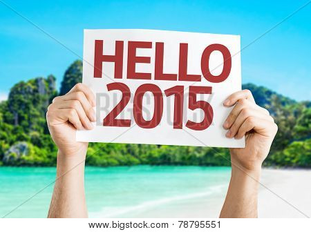 Hello 2015 card with a beach background