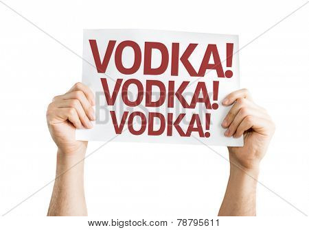 Vodka! Vodka! Vodka! card isolated on white background