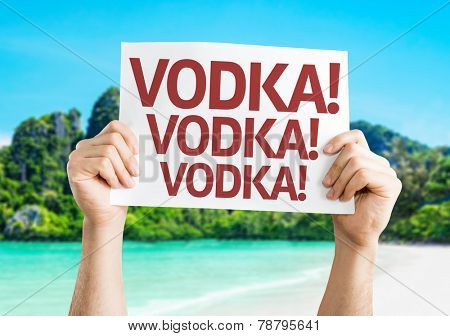 Vodka! Vodka! Vodka! card with a beach on background