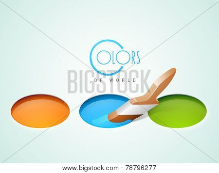 Three paint color with paint brush and text of Color Of World on stylish background.