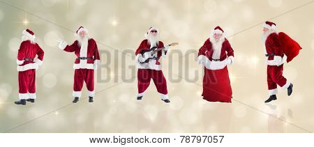Composite image of different santas against light design shimmering on silver