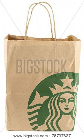 Ankara, Turkey - December 10, 2014:  Paper bag with Starbucks logo isolated on white background.