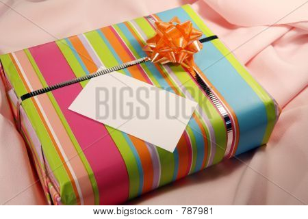 Pink present with tag