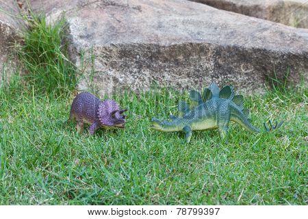 Triceratops and Stegosaurus dinosaur toys