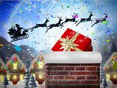 pic of quaint  - Santa flying his sleigh behind chimney against quaint town with bright moon - JPG