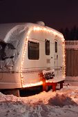 picture of caravan  - Winter camping holiday decorated garland - JPG