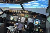 picture of yoke  - A view from inside flight simulator B737 cockpit - JPG