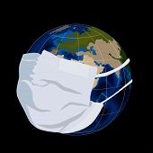 stock photo of cold-war  - Illustration of Globe or Earth in medical mask - JPG
