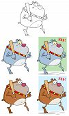 picture of sneaky  - Cartoon Character Sneaky Bulldog Tip Toeing With Baseball Bat - JPG