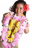 picture of hula dancer  - Hawaiian woman holding tropical flower lei smiling - JPG
