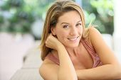 picture of 35 to 40 year olds  - Portrait of attractive blond woman at home - JPG