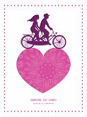 image of tandem bicycle  - Vector pink abstract flowers texture couple on tandem bicycle heart silhouette frame pattern greeting card template graphic design - JPG