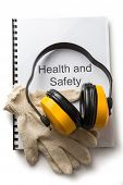 pic of personal safety  - Health and safety register with earphones in closeup - JPG