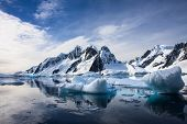 image of snow capped mountains  - Beautiful snow - JPG