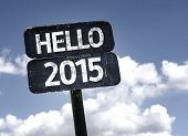 image of reveillon  - Hello 2015 sign with clouds and sky background - JPG