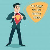 image of deed  - Happy Smiling Businessman Turns Superhero Suit under Shirt Icon on Stylish Background Retro Cartoon Design Vector Illustration - JPG