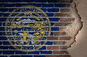 picture of nebraska  - Dark brick wall texture with plaster  - JPG
