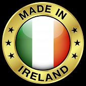 picture of irish flag  - Made in Ireland gold badge and icon with central glossy Irish flag symbol and stars - JPG
