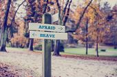 stock photo of opposites  - Rustic wooden sign in an autumn park with the words Afraid - JPG