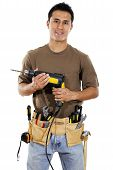 pic of handyman  - Stock image of handyman over white background - JPG