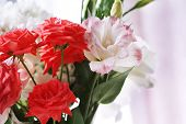 pic of vase flowers  - Beautiful flowers in vase with light from window - JPG