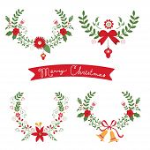 stock photo of christmas flower  - Colorful Christmas banners and laurels with flowers - JPG