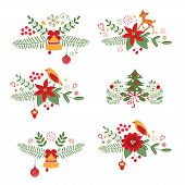 foto of christmas flower  - Colorful Christmas banners and laurels with flowers - JPG