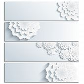 Постер, плакат: Set Of Trendy Banner With 3D Chrysanthemum