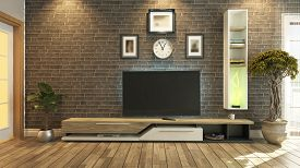 image of beauty salon interior  - tv room salon or living room with brick wall plant and tv design by sedat seven - JPG