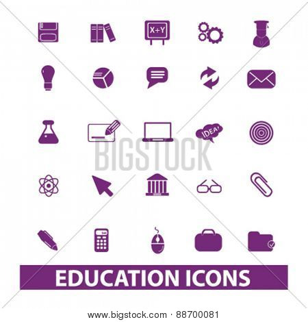 education, study, learning icons, signs, illustrations set, vector