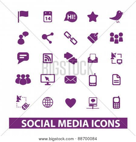 social media, community icons, signs, illustrations set, vector