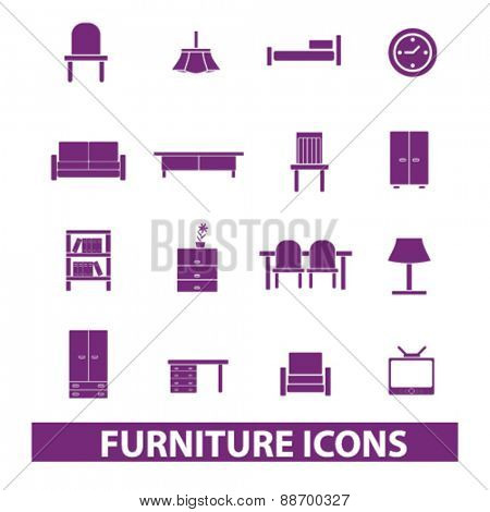 furniture, interior, table, chair, sofa, tv, cupboard, bookshelf icons, signs, illustrations set, vector