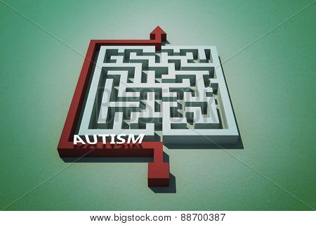 autism against red arrow going around puzzle
