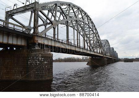 Railway Bridge Across The Daugava River.