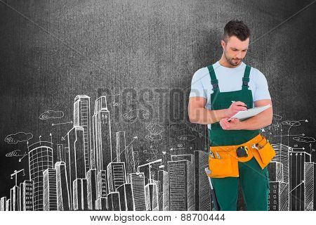Repairman writing on a clipboard against hand drawn city plan