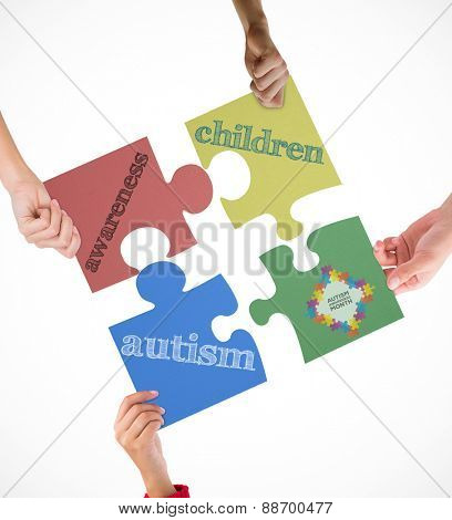 Autism awareness month against white background with vignette
