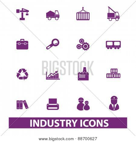 industry, factory icons, signs, illustrations set, vector