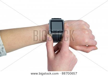 Woman using her smartwatch on white background