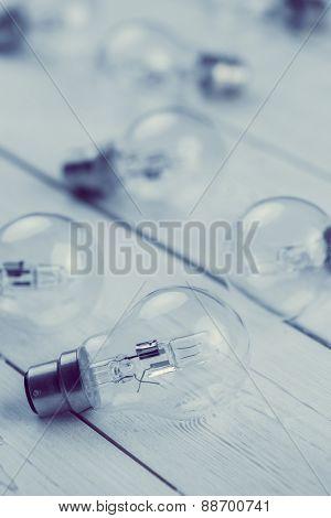 Light bulbs on wooden table