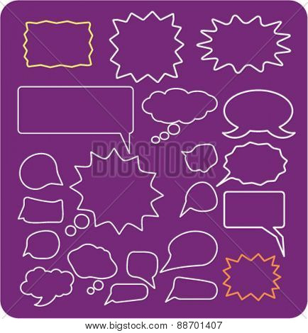 chat, speech, bubbles icons, signs, illustrations set, vector