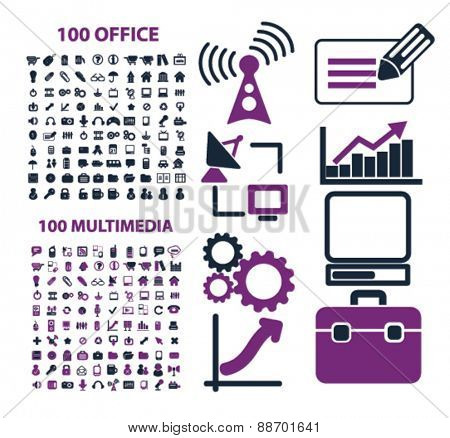 office, website, media, internet, business icons, signs, illustrations set, vector
