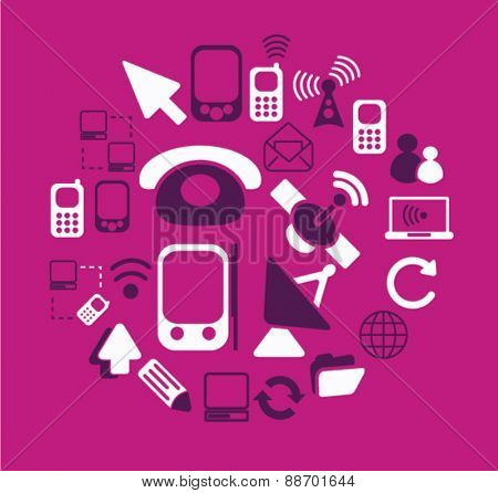 communication, phone, technology icons, signs, illustrations set, vector