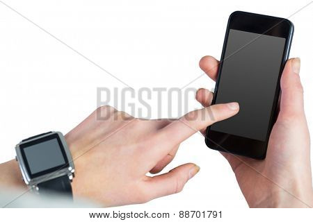 Woman using her smartphone on white background